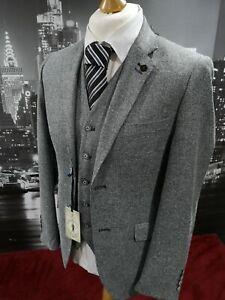 New-Men-s-Grey-Cavani-3-Piece-Suit-Tweed-Chest-36-Tailored-Peaky-Blinders-Slim
