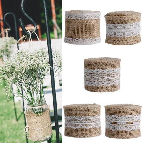 DIY Jute Burlap Natural Hessian Ribbon With Lace Trim Edge Wedding Rustic Tool