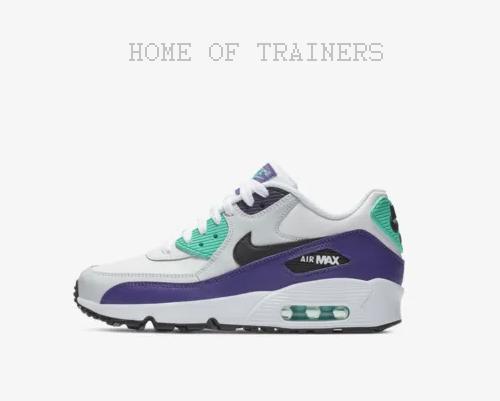 Nike Air Max 90 Leder Weiss Weiss Weiss Hyper Jade Hof purple Kinder Jungen Mädchen Turnschuhe 5547c1