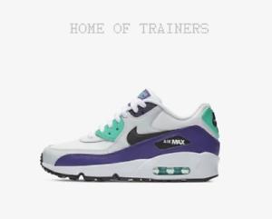 Nike Air Max 90 Leather White Hyper Jade Court Purple Kids Boys Girls Trainers