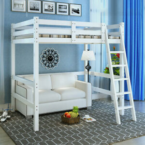 Details About White Pine Wooden High Sleeper Cabin Frame Bunk Bed Kid Children Single 3ft Beds