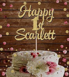 Groovy Happy 1St Birthday Custom Name Glitter Cake Topper Birthday Party Funny Birthday Cards Online Hetedamsfinfo