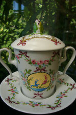 "LIMOGES  PORCELAIN  "" TASSE TREMBLEUSE""   COVERED CUP SAUCER  ""ROSE D'OR """
