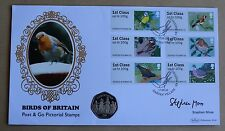 POST & GO BIRDS 2010 BENHAM FDC + ISLE MAN 2001 CHRISTMAS 50P COIN SIGNED MOSS