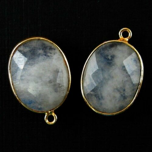 Sold Per 2 Pcs Bezel Gemstone Pendant 14x18mm Faceted Oval Moonstone