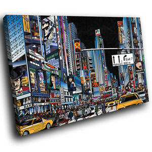 AB628 Colourful Times Square Modern Abstract Canvas Wall Art Large Picture Print