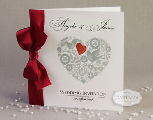 50 personalised wedding invitations love heart ribbon free envelopes