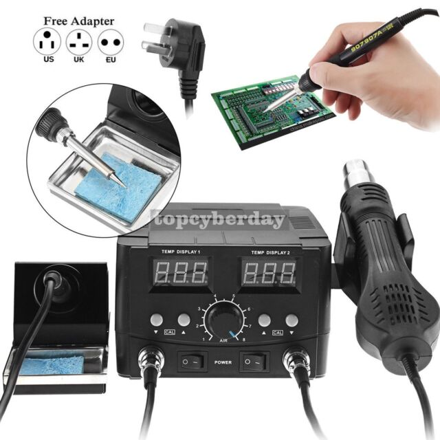 Black,100V-120V 2 in 1 L/ötstation 750W LCD-Digital-Display-Schwei/ßen Rework-Station f/ür Handy-Telefon BGA SMD-IC-Reparatur-Solder-Tools 8898