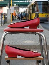 KARL LAGERFELD Damen Schuhe Pumps  Gr. 40  Uk 6,5  Rot Leder True Vintage