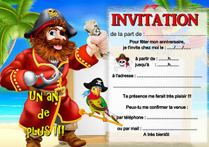5 Ou 12 Cartes Invitation Anniversaire Pirate Ref 402 Ebay