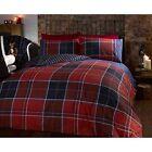 Argyle Double Quilt Duvet Cover and 2 Pillowcase Reversible Bedding Bed Set Tar