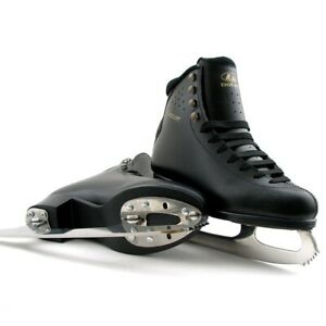 Botas-Cezar-Figure-Ice-Skates-Women-Black-Leather-Size-5-5-Princess-Blades