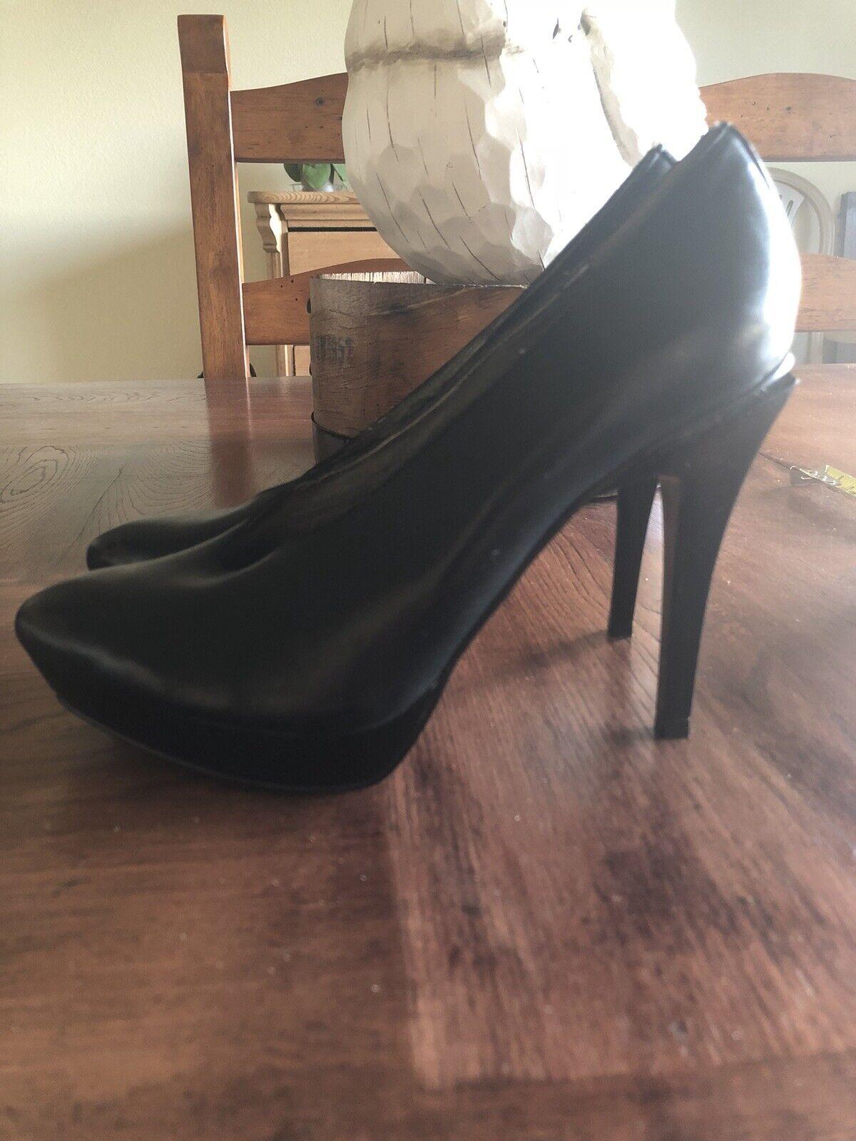 Audrey Brooke Black Leather Abchoke Platform Heels - Size 8