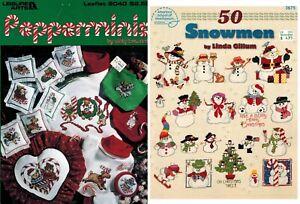 2-Cross-Stitch-Leaflets-PEPPERMINIS-amp-50-SNOWMEN-Christmas-Ornament-Charts