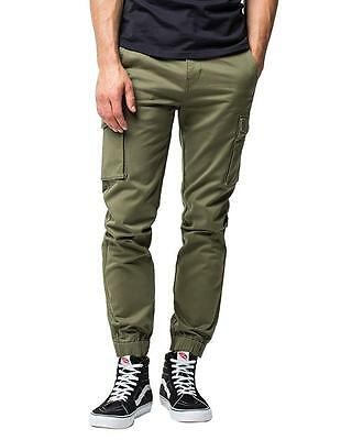 NEW LEVI'S MEN BANDED CARGO CHINO JOGGER STRETCH PANTS SLIM FIT OLIVE 246750003
