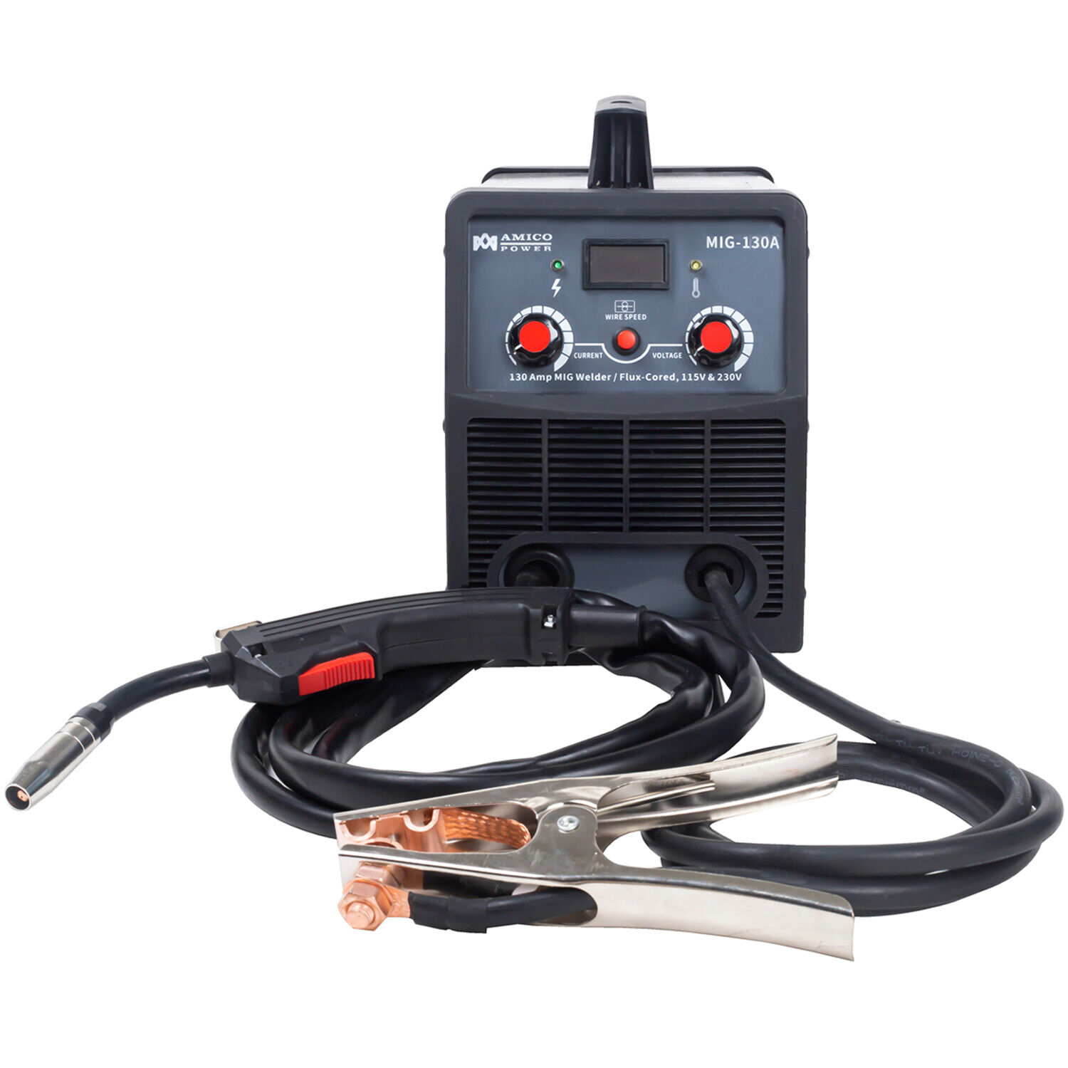 New AMICO MIG-130 Amp Flux Core Gasless Welder, 115/230V Dual Voltage Welding New.