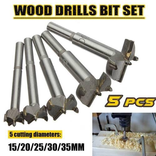 5X 15-35 mm Forstner Bois Drill Bit Set Perçage Trou Scie Cutter Wood Tools