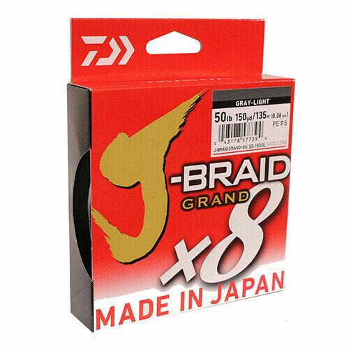 Spool Select lb. Test Daiwa J-Braid Grand 8X Gray-Light Braided Line 150YD