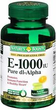 Natures Bounty Vitamin E 1000 IU Softgels Pure DL-Alpha 60 Soft Gels