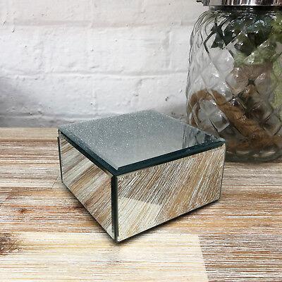 Square Mirror Silver Glitter Sparkle Glass Jewellery Trinket Storage Box Gift
