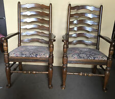 ONE+  (to 22) ETHAN ALLEN ROYAL CHARTER WOOD ANTIQUE ARM CHAIRS OAK LADDERBACK