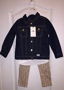 Clothing, Shoes & Accessories Radient Nwt 7 For All Mankind Toddler Girl's Denim Jean Jacket 3pc Pants Outfit Set 3t Orders Are Welcome.