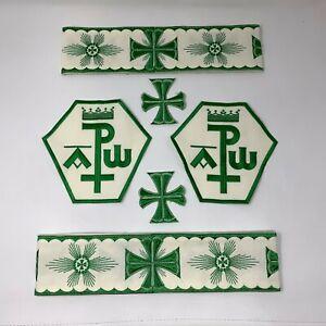 Px-Croce-Casula-Emblemi-Bendaggio-Verde-su-Off-Bianco-8-Pcs-Lotto