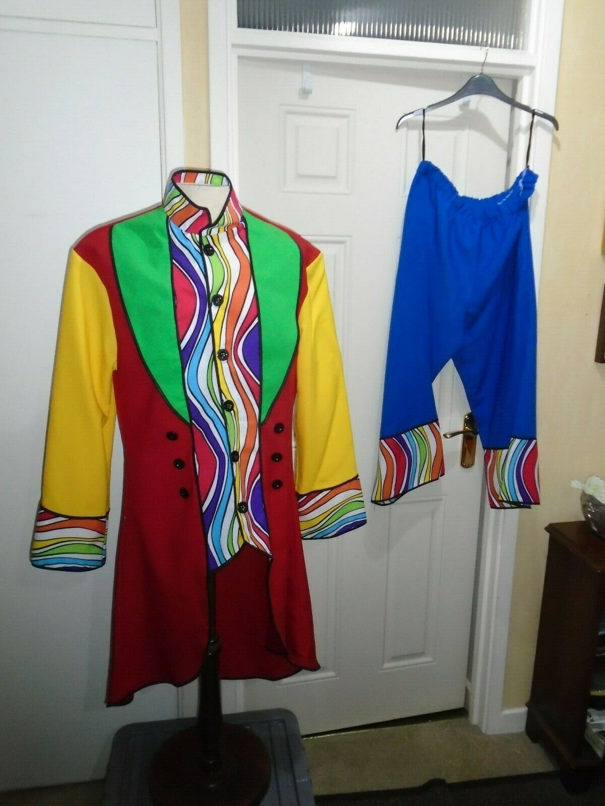 Clown rainbow coat, trousers Large size 46 inch chest circus/ theatre