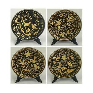 Damascene-Gold-Dove-Design-Round-Decorative-Mini-Plate-by-Midas-of-Toledo-Spain