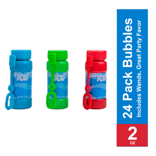 24-2 OZ Bottles of Bubble BubblePlay Bubble Blower Bottles with Wands
