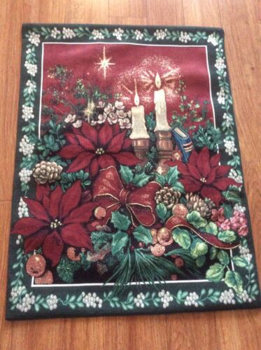 """Candles And Poinsettias W-25"""" x L-40""""Tapestry Wall Hanging"""