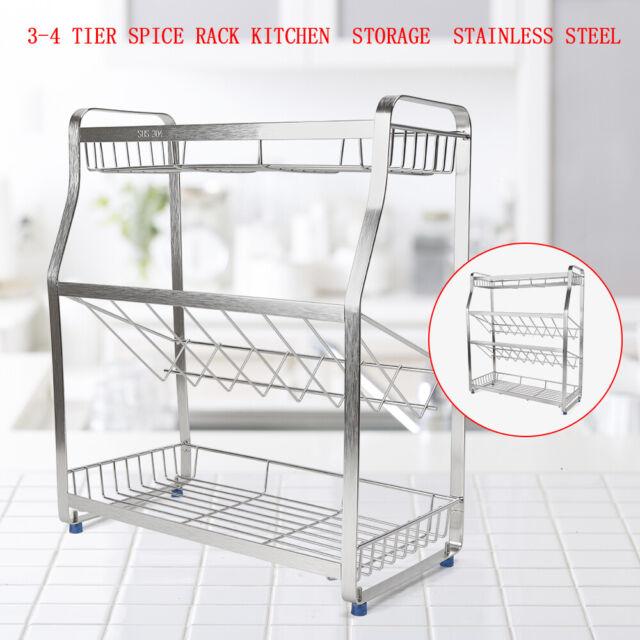 3-4 Tier Spice Rack Kitchen Bathroom Standing Storage Organizer Stainless Steel