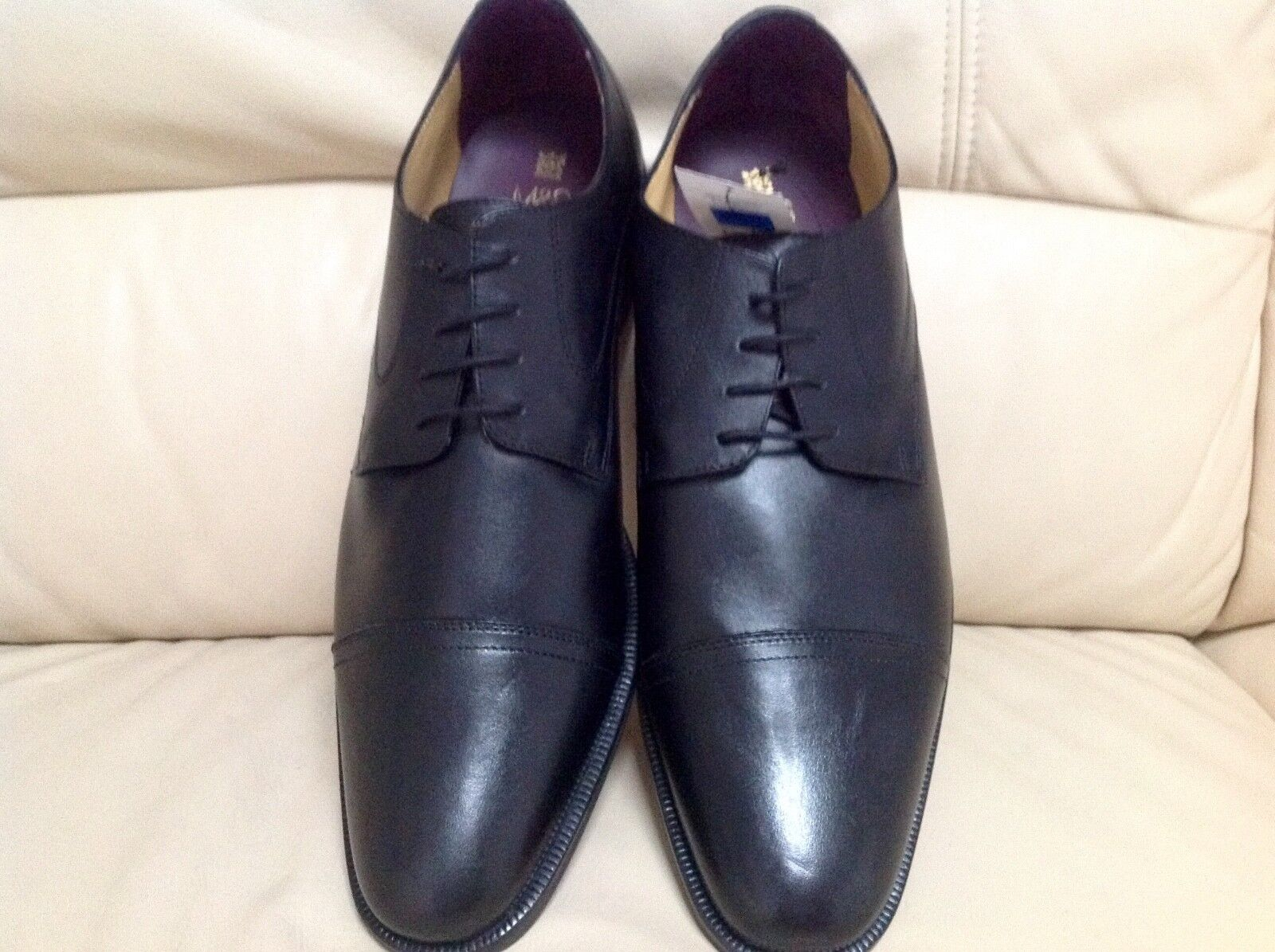 M&S Mens Luxury Collection Leather Layerot Lace Up Toe Cap schuhe Größe  14
