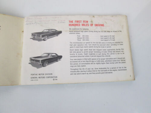 1966 PONTIAC OR TEMPEST OWNERS GUIDE