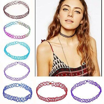 Chic Colorful Vintage Stretch Tattoo Choker Necklace Retro Gothic Punk Elastic h