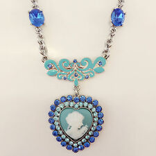 New Lady Cameo Vintage Style Blue Heart Pendant Charm Chain Necklace Gift N1319
