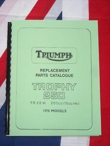 Parts Manual 1970 Fits Triumph Tr25w Trophy 250cc Single Cylinder Book Catalog