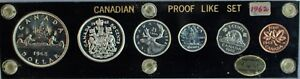 Canada-Proof-Like-Set-1962-6-Coins-Capital-Coin-Holder-Silver-Unc-Royal-Mint