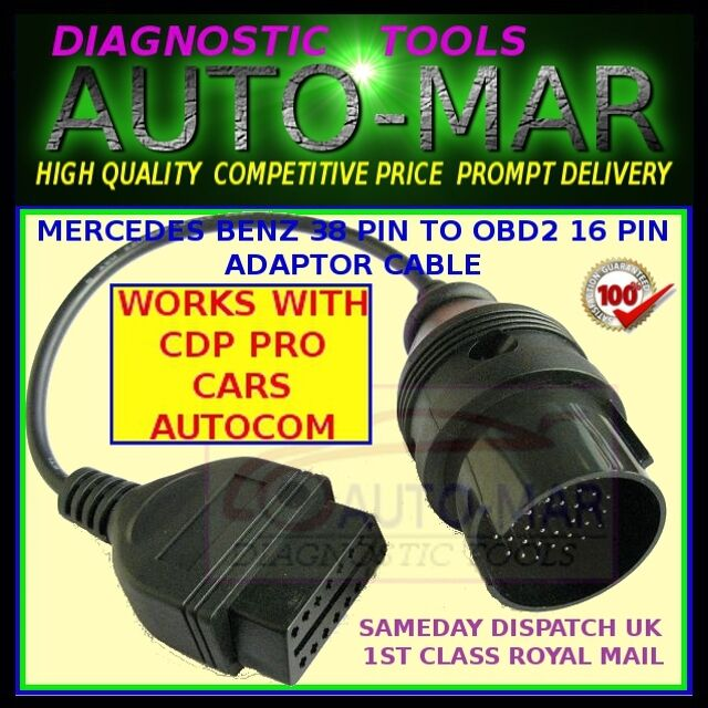 Mercedes Benz 38 Pin Adaptor Cable Connector to OBD2 16pin AUTOCOM WURTH  DELPHI