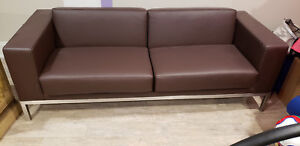 Details about Keilhauer brown leather office sofa