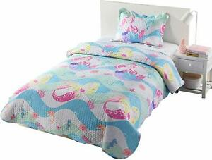 Kids-Bedspread-Quilts-Set-for-Teens-Boys-Girls-Bedding-Mermaid-Quilt-Twin-A94
