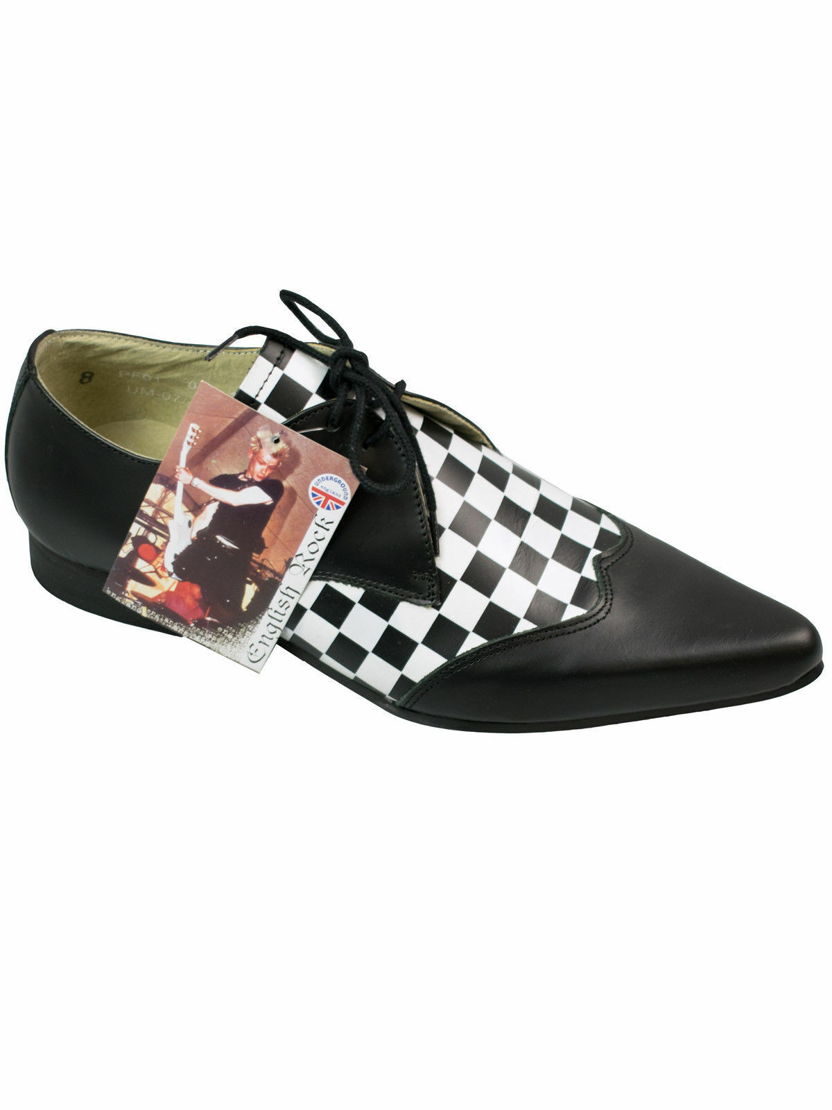 Underground Shoes Winkelpicker Pikes Spitz Halbschuh Checkerboard Chess #5111