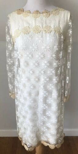 Vintage 1960s Mod Mini Wedding Dress Lace Bohemian