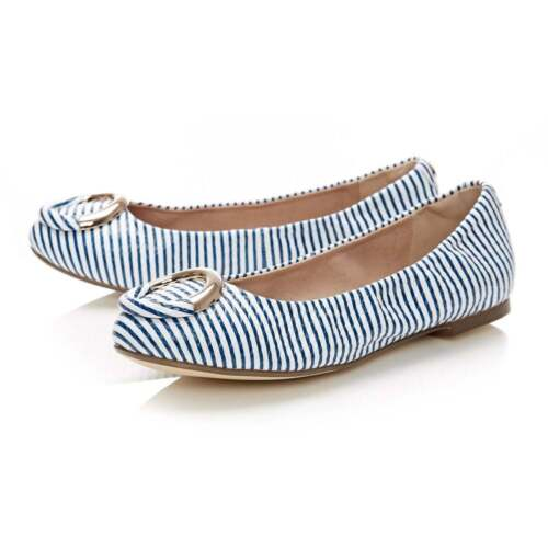 46D789 Women/'s Moda In Pelle Ballerina Shoes With Circular Trim Blue//White