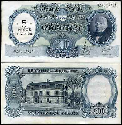 ARGENTINA 5 PESOS ON 500 PESOS ND 1970 P 283 AUNC ABOUT UNC