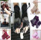 Women Lady Girl Rabbit Fur Hand Wrist Warmer Fingerless Gloves