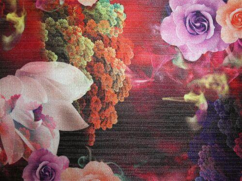 em-1008 - redpink-M Floral Digital Print Lurex Survêtement Brocade Dress Fabric
