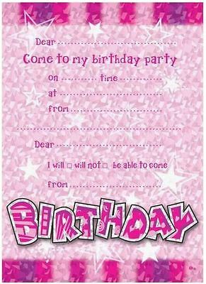 14 Happy Birthday Invites Envelopes Pink Girl Guest Party Celebration Fun Star