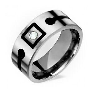 Womens Mens Titanium Ring Wedding Bands Engagement Rings W Diamond Black Res