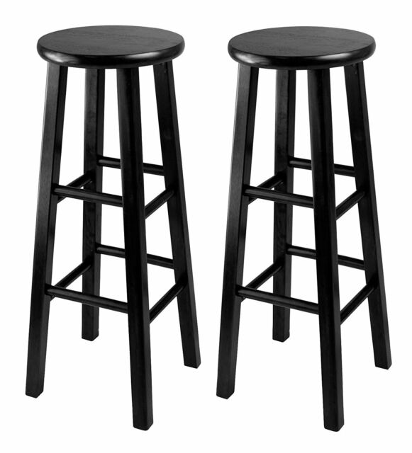 Pleasing Bar Stool Black 29In Square Leg Seat Tall Set Of 2 Kitchen High Chair Solid Wood Machost Co Dining Chair Design Ideas Machostcouk